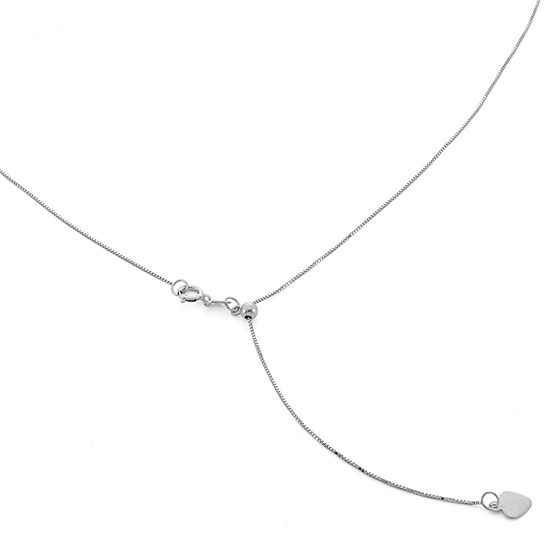 10K White Gold 22 Inch Solid Box Chain Necklace