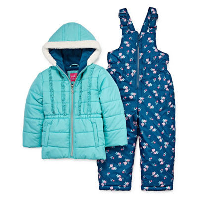 Pink Platinum Heavyweight Floral Snow Suit-Toddler Girls