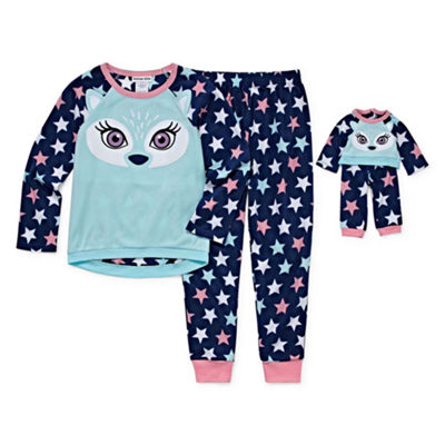 """For Me and My Dream Doll""  2-pc. Fox Pant Pajama Set-Girls"