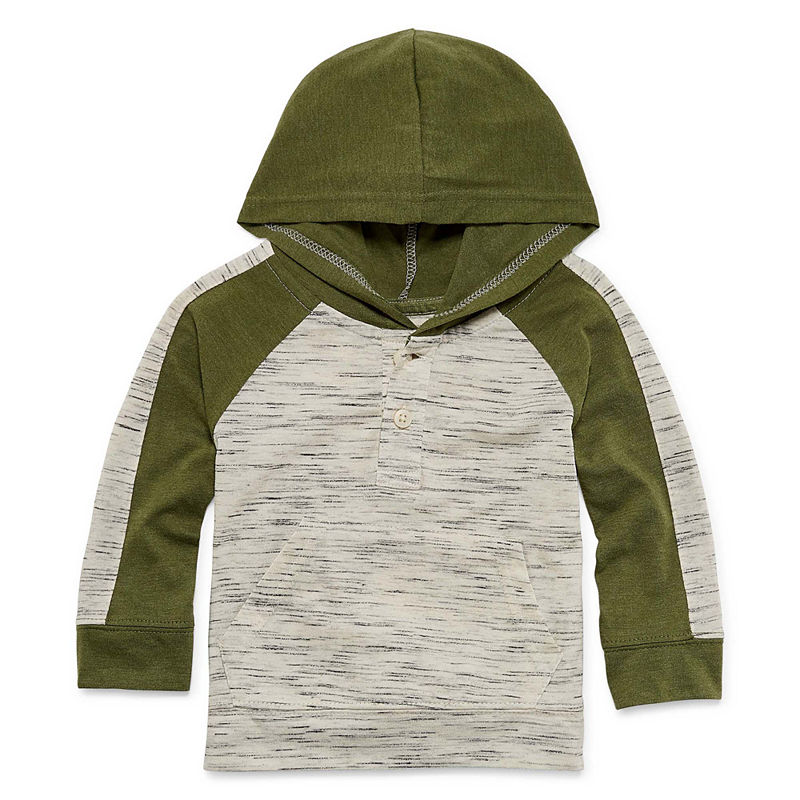 Okie Dokie Hooded Long Sleeve Henley – Baby Boy 3M-24M, Size 3 Months