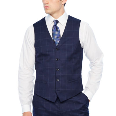 JF J.Ferrar Windowpane Slim Fit Suit Vest