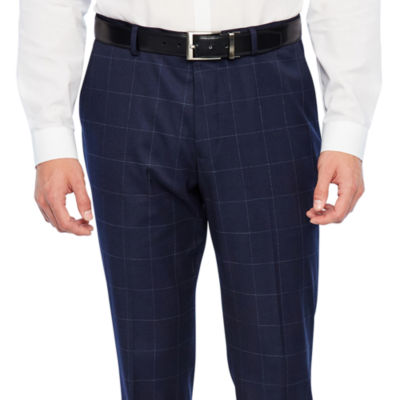 JF J.Ferrar Navy Mens Windowpane Stretch Slim Fit Suit Pants