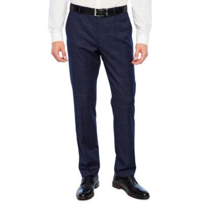 JF J.Ferrar Windowpane Super Slim Fit Stretch Suit Pants