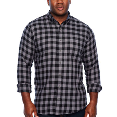 IZOD Tall Wovens Long Sleeve Flannel Shirt-Slim