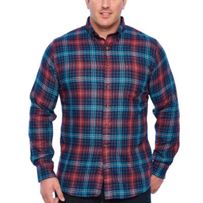 IZOD Tall Wovens Long Sleeve Flannel Shirt-Slim
