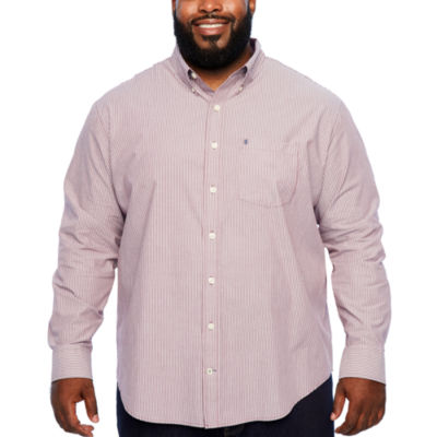 IZOD Ls Premium Essential Woven Long Sleeve Stripe Button-Front Shirt-Big and Tall