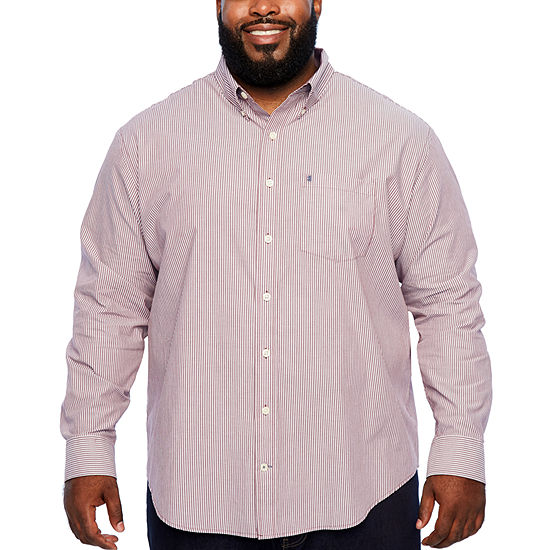 IZOD Big and Tall Ls Premium Essential Woven Mens Long Sleeve Striped Button-Front Shirt