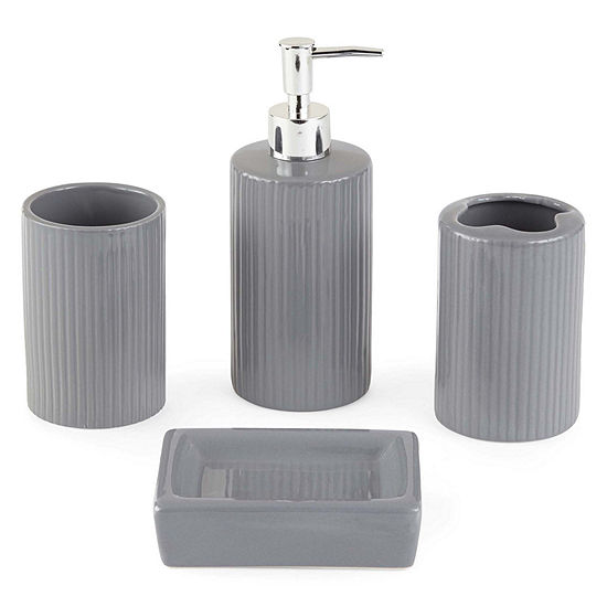 Indecor Home Gray Ceramic 4-pc. Bath Accessory Set