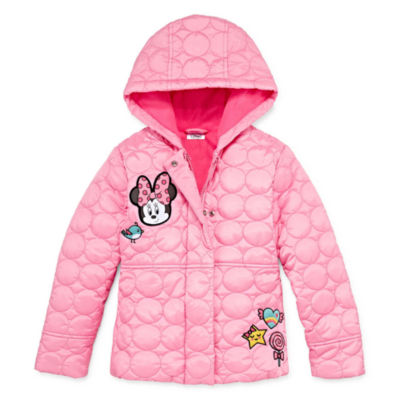 Disney Girls Minnie Mouse Hooded Water Resistant Midweight Quilted Jacket Preschool / Big Kid