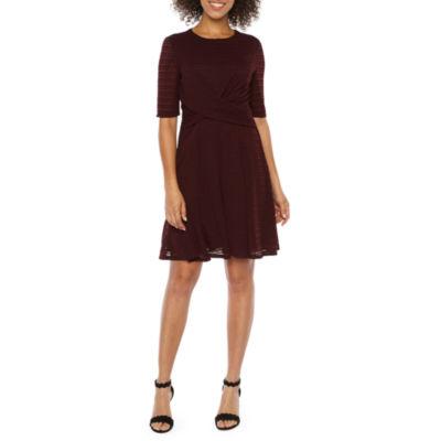 London Times Short Sleeve Stripe Fit & Flare Dress