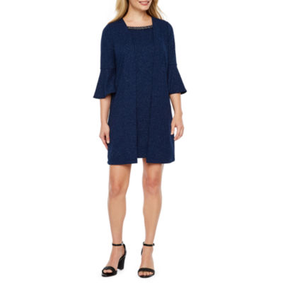 Scarlett 3/4 Sleeve Beaded Jacket Dress-Petite