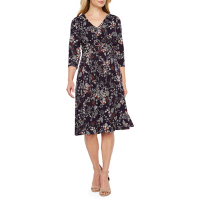 Perceptions 3/4 Sleeve Floral Fit & Flare Dress-Petite