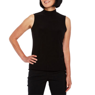 Black Label by Evan-Picone Sleeveless Mock Neck Blouse