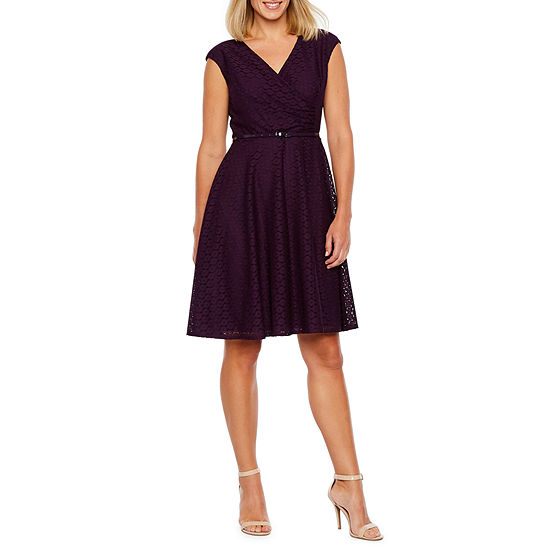 Black Label By Evan Picone Sleeveless Eyelet Fit Flare Dress Jcpenney