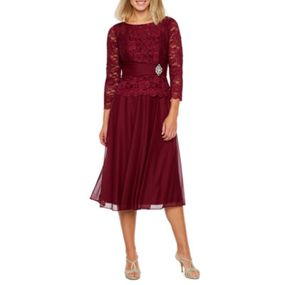 Jackie Jon 3/4 Sleeve Embellished Party Dress