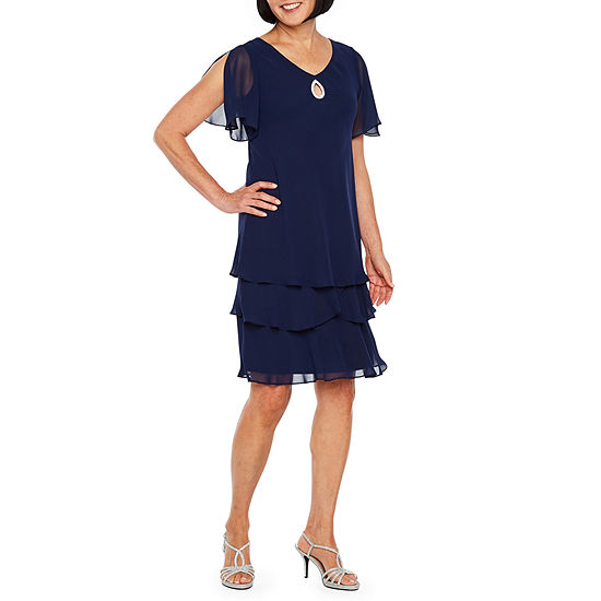 Onyx Nites Short Sleeve Applique Midi Shift Dress