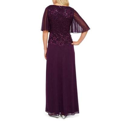 Onyx Nites Short Flutter Sleeve Evening Gown