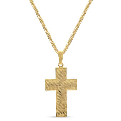 Made In Italy Womens 18K Gold Over Silver Sterling Silver Cross Pendant Necklace