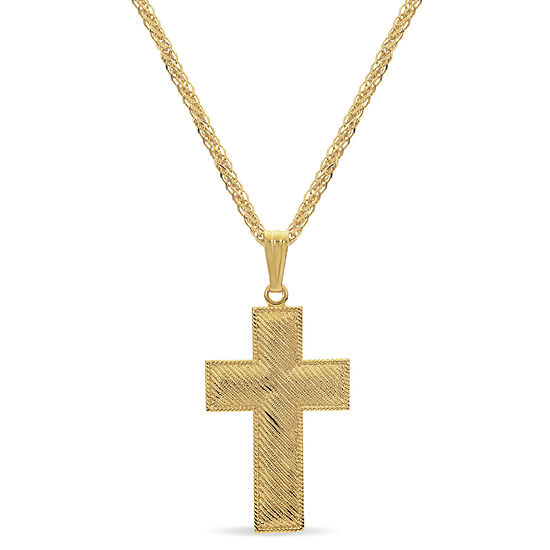 Made In Italy Mens 18k Gold Over Silver Sterling Silver Cross Pendant Necklace
