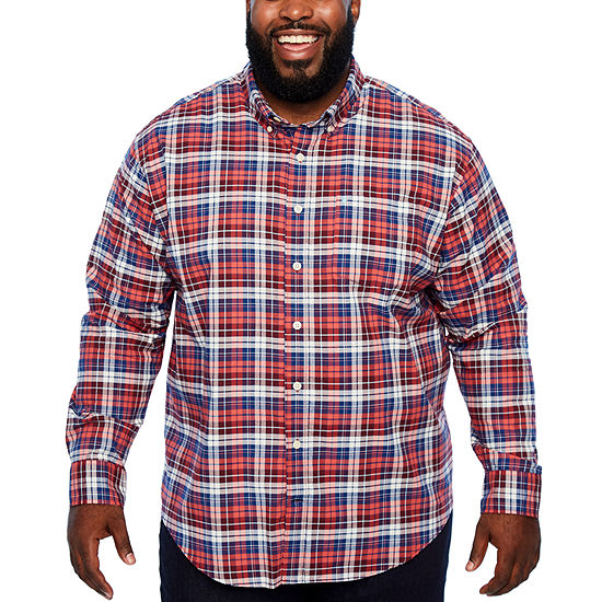 IZOD Ls Saltwater Newport Oxford Mens Long Sleeve Plaid Button-Front Shirt Big and Tall