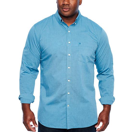 IZOD Tall Slim Premium Essential Woven Mens Long Sleeve Button-Front Shirt Slim