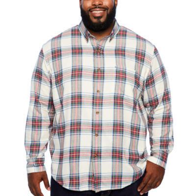 IZOD Ls Flannel Woven Long Sleeve Flannel Shirt-Big and Tall