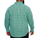 IZOD Big and Tall Ls Premium Essentials Mens Long Sleeve Plaid Button-Front Shirt