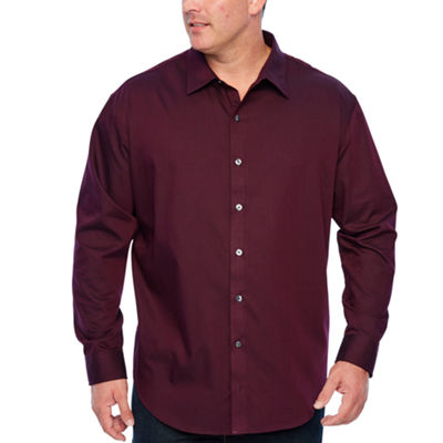 Van Heusen Easy Care Sateen Stripe Woven Mens Long Sleeve Striped Button-Front Shirt Big and Tall