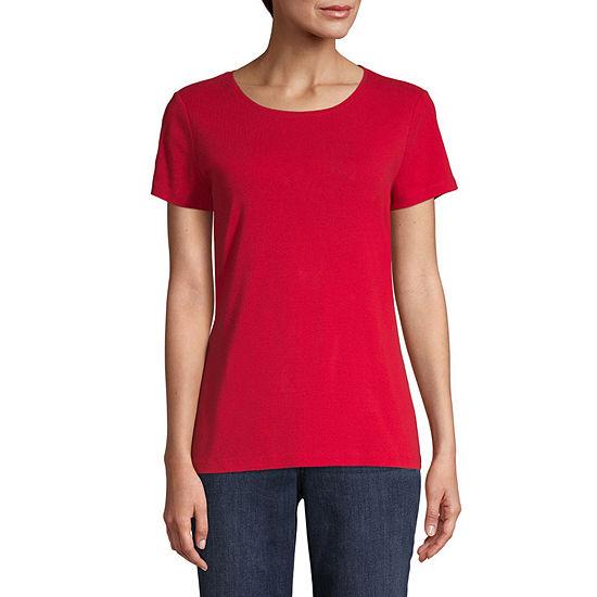 St. John's Bay-Womens Crew Neck Short Sleeve T-Shirt