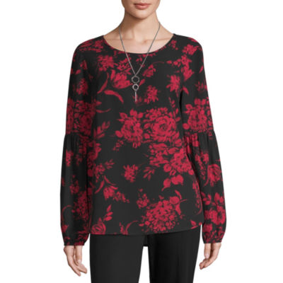 Alyx Long Sleeve Scoop Neck Floral Pullover Sweater