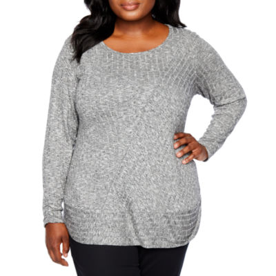 Alyx Long Sleeve Ribbed Tunic Top - Plus