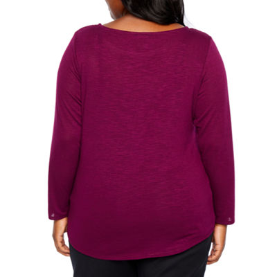 Alyx Long Sleeve Round Neck Knit Blouse-Plus
