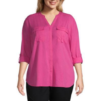 A.N.A Long Sleeve Pleat Pocket Button-Front Shirt - Plus