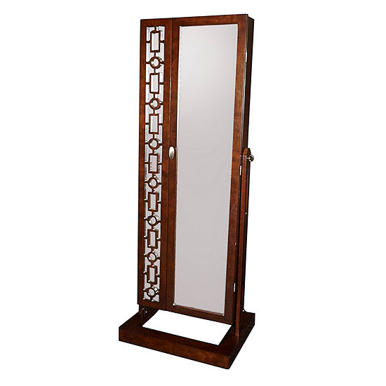 Amelia Cherry Cheval Mirror Jewelry Armoire