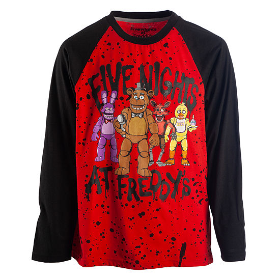 c60b11d85 Boys Crew Neck Long Sleeve Five Nights at Freddys Graphic T-Shirt ...