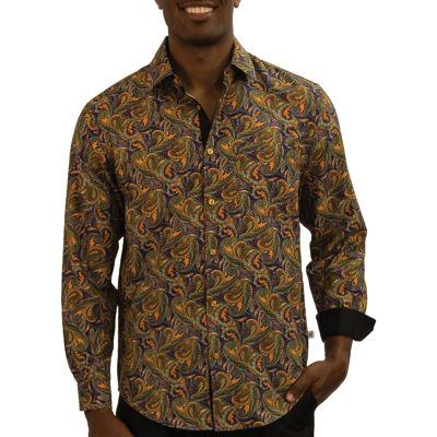 Steve Harvey Mens Long Sleeve Pattern Button-Front Shirt