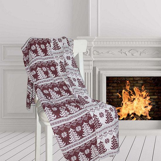 Pacific Coast Textiles Jacquard Winter Knit Lightweight Throw