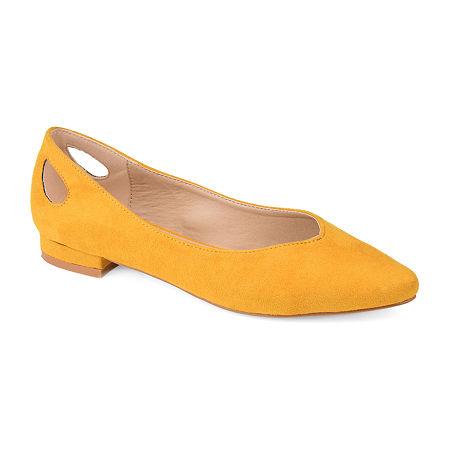 Retro Vintage Flats and Low Heel Shoes Journee Collection Womens Devon Round Toe Ballet Flats 10 Medium Yellow $45.49 AT vintagedancer.com
