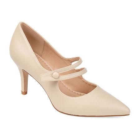 1950s Shoe Styles: Heels, Flats, Sandals, Saddle Shoes Journee Collection Womens Sidney Pumps Block Heel 10 Medium Beige $56.24 AT vintagedancer.com