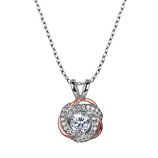 Sparkle Allure Cubic Zirconia Bronze 18 Inch Cable Pendant Necklace