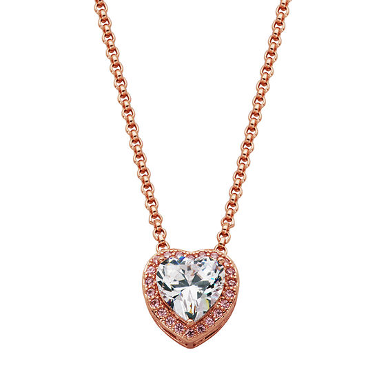 Sparkle Allure Cubic Zirconia Bronze 18 Inch Cable Heart Pendant Necklace