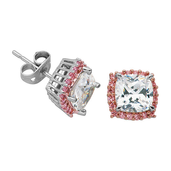 Sparkle Allure 3 1/4 CT. T.W. Lab Created Multi Color Cubic Zirconia Bronze 9.3mm Square Stud Earrings