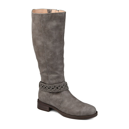 Journee Collection Womens Paisley Wide Calf Stacked Heel Riding Boots