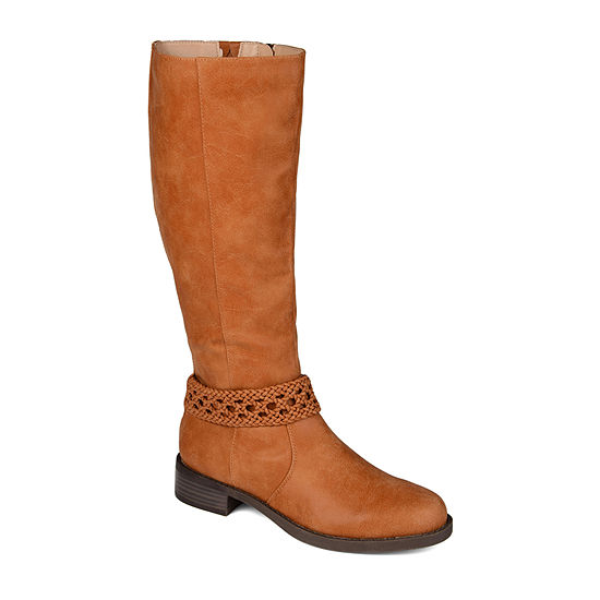 Journee Collection Womens Paisley Extra Wide Calf Stacked Heel Riding Boots