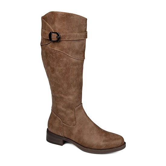 Journee Collection Womens Brooklyn Extra Wide Calf Stacked Heel Riding Boots
