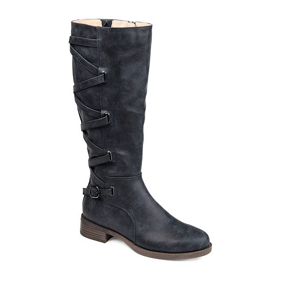 Journee Collection Womens Carly Wide Calf Riding Boots Stacked Heel