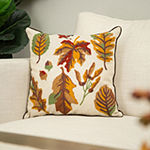 Glitzhome Fall Embroidered Leaves Square Throw Pillow
