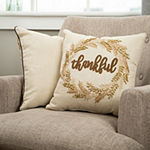 Glitzhome Embroidered Thanksgiving Square Throw Pillow
