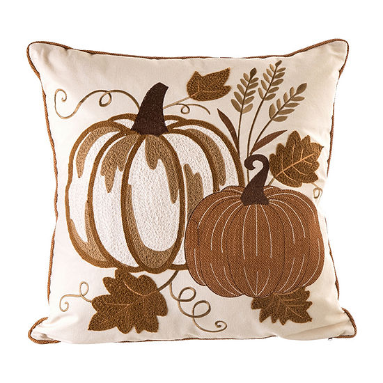Glitzhome Cotton Embroidered Pumpkin Square Throw Pillow