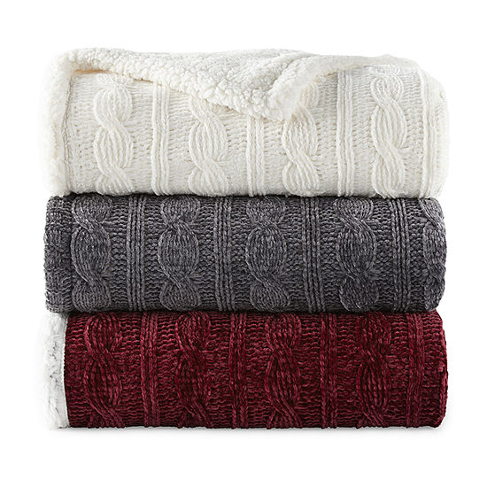 North Pole Trading Co Faux Chenille Sherpa Knit Throw
